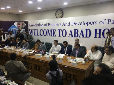 Meeting at ABAD house against ban on high risse buildings in Karachi